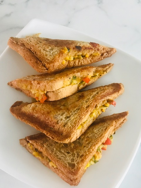 Chickpea salad grilled sandwich